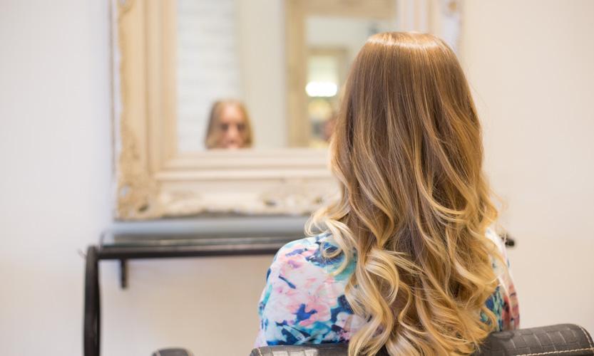 blonde hair in mirror